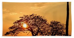Orange Sunset Beach Towel by Pamela Walton