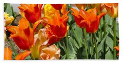 Orange Tulips Beach Sheet by Jim Brage