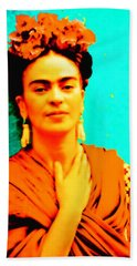 Beach Towel featuring the mixed media Orange You Glad It Is Frida by Michelle Dallocchio