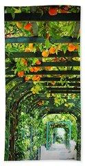Oranges And Lemons On A Green Trellis Beach Sheet