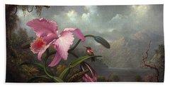 Orchid And Hummingbir Beach Towel by Martin Johnson Heade