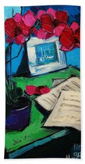 Orchid And Piano Sheets Beach Towel by Mona Edulesco