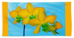 Orchid In Yellow Beach Towel