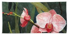 Beach Sheet featuring the painting Orchid Trio 2 by Barbara Jewell