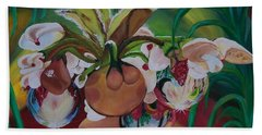 Orchids In Raindrop Reflections Beach Towel