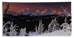 Beach Towel featuring the photograph Oregon Cascades Winter Sunset by Kevin Desrosiers