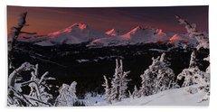 Oregon Cascades Winter Sunset Beach Sheet by Kevin Desrosiers