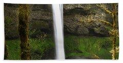 Oregon Waterfall Woodland Beach Sheet by Andrea Hazel Ihlefeld