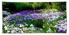 Oriental Ensata Iris Garden Beach Sheet by Carol F Austin
