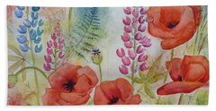 Beach Sheet featuring the painting Oriental Poppies Meadow by Carla Parris