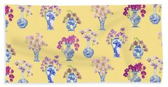 Oriental Vases With Orchids Beach Towel by Kimberly McSparran