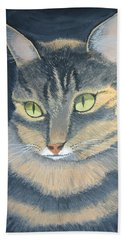 Original Cat Painting Beach Sheet