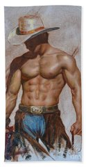 Original Oil Painting Gay Man Body Art-cowboy#16-2-5-19 Beach Towel
