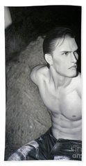 original Oil painting gay man body male nude art on canvas-201 Beach Sheet