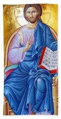 Orthodox Icon Of Jesus In Blue Beach Sheet by Munir Alawi