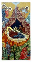 Orthodox Nativity Of Christ Beach Sheet by Munir Alawi