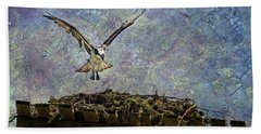 Beach Towel featuring the photograph Osprey-coming Home by Belinda Greb