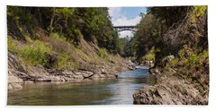 Beach Towel featuring the photograph Ottauquechee River Flowing Through The Quechee Gorge by John M Bailey