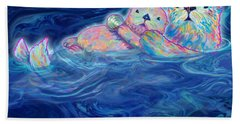 Beach Sheet featuring the mixed media Otter Family by Teresa Ascone