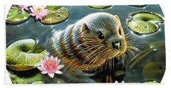 Otter In Water Lilies Beach Towel
