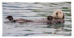 Beach Towel featuring the photograph Otterly Adorable by Chris Scroggins