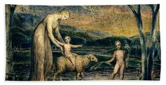 Our Lady With The Infant Jesus Riding On A Lamb With St John Beach Towel
