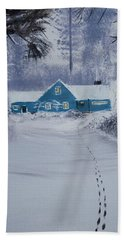 Our Little Cabin In The Snow Beach Towel