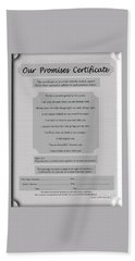 Our Promises Certificate Beach Sheet