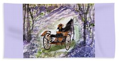 Out In The Meadowbrook Cart Beach Towel
