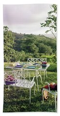 Outdoor Furniture By Lloyd On Grassy Hillside Beach Towel