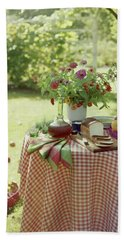 Outdoor Lunch In The Shade Of A Tree Beach Towel