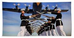 Over The Marine Corps Silent Drill Platoon Beach Towel