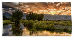 Owens River Sunset Beach Towel