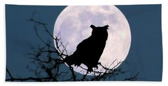 Owl And Blue Moon Beach Towel