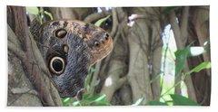 Owl Butterfly In Hiding Beach Towel