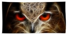 Owl - Fractal Artwork Beach Towel by Lilia D