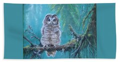 Owl In The Woods Beach Towel