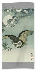 Owl - Moon - Cherry Blossoms Beach Towel by Reproduction