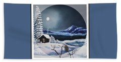 Owl Watch On A Cold Winter's Night In The Round  Beach Towel by Kimberlee Baxter