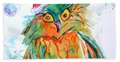 Beach Towel featuring the painting Owlellujah by Beverley Harper Tinsley