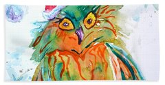 Beach Sheet featuring the painting Owlellujah by Beverley Harper Tinsley