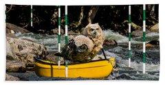 Owlets In A Canoe Beach Towel by Les Palenik