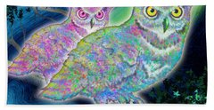 Beach Sheet featuring the painting Owls At Midnight  Square by Teresa Ascone