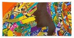 Beach Sheet featuring the tapestry - textile Oya I by Apanaki Temitayo M