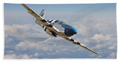 P51 Mustang - Symphony In Blue Beach Towel