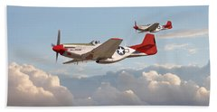 P51 Mustangs - Red Tails Beach Towel