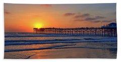 Pacific Beach Pier Sunset Beach Towel