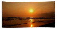 Pacific Sunset Reflection Beach Sheet by Debby Pueschel