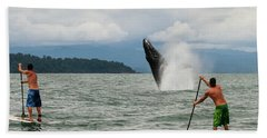 Paddle Boarders And Humpback Whale Beach Towel
