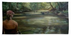 Beach Sheet featuring the painting Paddle Break by Donna Tuten